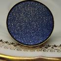 Sötétkék diszkréten arany csillámos farmer mono gyűrű, Különleges darab ez az elegánsan csillámos gom...