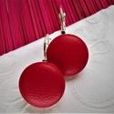 Piros valódi bőr klasszikus mono makaron fülbevaló, Az ár egy pár fülbevalóra vonatkozik.  Elegán...