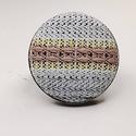 Farmer világoskék bézs vízszintes csíkos mono gyűrű, Ékszer, Táska, Divat & Szépség, Gyűrű, Egyszerű letisztult darab ez a gombfej betétes gyűrű.  A 25 mm -es betét igazi présgéppel készült - ..., Meska