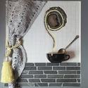 Szürke fekete sárga 3D mozaik falikép dekoráció - reggeli  kávé tea kép , Otthon & lakás, Férfiaknak, Dekoráció, Kép, Legénylakás, A kép kézműves technikával készült.  mérete: 50 cm x 45 cm  A minőségi üvegmozaikok, achát szelet és..., Meska