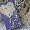 Lila fehér vintage mozaik szív  kavics kép- 3D falikép dekoráció természetes kő kép, Otthon & lakás, Dekoráció, Lakberendezés, Falikép, A kép kézműves technikával készült, természetes alapanyagokból.   Kampó és akasztó nélkül mérve az a..., Meska