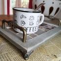 Animus kávés mozaik tálca, réz lábakkal, réz fogantyúkkal - kávébarna, Karakteres kínáló tálca - kávé barnás szín...