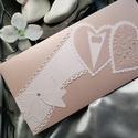 Prémium púder fehér gyöngyházfényes díszes esküvői jótartású, zárható pénzátadó boríték : HMB2104_075, Pénzátadó boríték - szilikonos leragasztható...