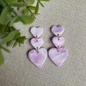 LEA rózsaszín gyurma fülbevaló, Ékszer, Fülbevaló, Lógós fülbevaló, Ékszerkészítés, Gyurma, Kézzel készült egyedi fülbevaló, rózsaszín, lila és fehér színű süthető ékszergyurma felhasználásáv..., Meska