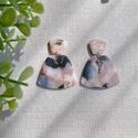 ODETT márványos gyurma fülbevaló, Kézzel készült egyedi fülbevaló, fekete, róz...