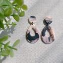 LOLA márványos gyurma fülbevaló, Kézzel készült egyedi fülbevaló, fekete, róz...