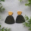 ODETT fekete arany elegáns gyurma fülbevaló, Kézzel készült egyedi fülbevaló, fekete és a...