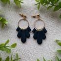 CHLOE fekete elegáns gyurma fülbevaló, Kézzel készült egyedi fülbevaló, fekete süth...
