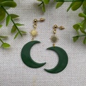 MOON olíva zöld hold-nap gyurma fülbevaló, Kézzel készült egyedi fülbevaló, olíva zöld...