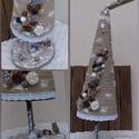 Vintage Grincsfa: Csipkés,gyöngyös,fahéjas,rusztikus mini karácsonyfa asztali dísz., Kenderzsinórból,papírból,csipkéből,faágból...