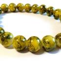 Akció! Olíva üveggyöngy karkötő, Ékszer, Karkötő, Zöld és sárga márványos minta. Igazi különlegesség! Csillogó, vidám színek!  Festett, 8-m..., Meska