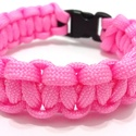 Pink- Paracord karkötő többféle szín, Ékszer, Karkötő, Rózsaszín paracord zsinórból készült karkötő, műanyag csattal. Kb. 2 cm vastag. A szükség..., Meska