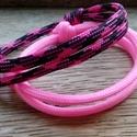 Pink paracord duó, Ékszer, Karkötő, Csomózás, Ez a csomag egy rózsaszín és egy pink-fekete karkötőt tartalmaz. Mérete csúszócsomókkal állítható. ..., Meska