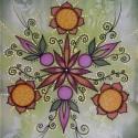 Örömtánc, Dekoráció, Képzőművészet, Otthon, lakberendezés, Falikép, 22x32 cm-es selyemre festett egyedi falikép. A megfestett selymet habkartonra feszítem, mely stabi..., Meska