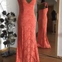 Estélyi ruha, Ruha, divat, cipő, Női ruha, Estélyi ruha, Ruha, Varrás, 38-as méretű, földig érő, korall színű csipke alkalmi ruha, Meska