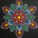 """""""Flower"""" pontozott mandala feszített vásznon, Otthon & Lakás, Dekoráció, Falra akasztható dekor, Festészet, Festett tárgyak, A szivárvány minden színében pompázó egyedi """"mini"""" mandala mely erőt, ugyanakkor békességet hoz. Vi..., Meska"""