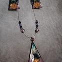 Türkiz háromszög tűzzománc szett, Ékszer, Ékszerszett, Ékszerkészítés, Tűzzománc, Tűzzománc technikával készült egyedi ékszer. A vörösréz alapot kontra zománccal festettem be ezután..., Meska