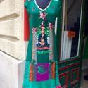 Frida Kahlo ihlette sötétzöld ruha , Ruha, divat, cipő, Női ruha, Ruha, Varrás, A Frida Kahlo kollekció újabb egyedi darabja . Fonom tapintású rugalmas pamutból készült , a művèsz..., Meska