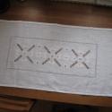 Fehér asztali futó, rusztikus, Fehér lenvászonra készítettem, saját terveim ...