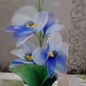Orchidea harisnyából , Otthon & lakás, Dekoráció, Csokor, Dísz, Ünnepi dekoráció, Virágkötés, Egy csodás színátmenetes harisnyából készült orchidea. Magassága 36 cm,van rajta 4 virág,3 bimbó., Meska