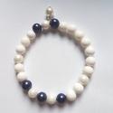 """,,Pearl"""" ásványkarkötő, Ékszer, óra, Karkötő, Shell pearl és kagylóhéjgyöngy találkozása ez a karkötő. 19 cm hosszú, a méret kérésre változtatható..., Meska"""