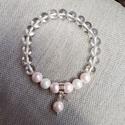 Hegyikristály és shell pearl harmóniája ásványkarkötő, Ékszer, óra, Karkötő, A shell pearl olyan gyöngy,aminek a magját gyöngyházból készítik,a bevonatát pedíg porrá zúzottédesv..., Meska
