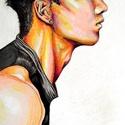 Taeyang, Képzőművészet, Grafika, Illusztráció, Vegyes technika, Fotó, grafika, rajz, illusztráció, Ezt a képet, egy koreai énekes... Taeyang ihlette. Akit grafittal, szénnel, zsírkrétával, krétával ..., Meska