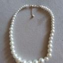 Gyöngy nyaklánc, Esküvő, Esküvői ékszer, Összhossz: 48 cm, állítható hosszúság, a gyöngy mérete változó., Meska