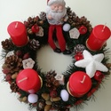 Adventi koszorú, Dekoráció, Ünnepi dekoráció, Karácsonyi, adventi apróságok, Karácsonyi dekoráció, Egyedi készítésű, selyemfenyővel készült, elegáns ízlésvilágú adventi koszorú. Méltó ..., Meska