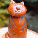 macska, rakus, Dekoráció, Dísz,       Speciális samottos agyagból kézzel formált cicusok ! Kétszer égetett, terrakottán és m..., Meska