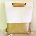 fehér-arany hátitáska, Fehér - aranyhátitáska. mérete:  szélesség: ...