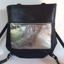 Bindy bőr-textil variálható táska, Bingy kétféle marhabőr és textil kombinációs...