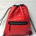 Piros lakk jim bag hátitáska, Táska, Hátizsák, táska mérete: magasság: 47 cm, szélesség 40 cm anyaga: eleje piros bélelt lakk anyag, háta fekete fé..., Meska