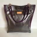 Shopping bag bőr lila-ezüst KÉSZLETEN, Táska, Válltáska, oldaltáska, Tarisznya,  BAG FITS ALL modell minden modern nő hétköznapi tartozéka. Minden helyzetben megállja a helyét, leg..., Meska
