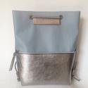 TEKLA bag halványkék-ezüst bőr zsebes hátizsák, Táska, Válltáska, oldaltáska, Hátizsák, Tekla hátizsák-backpack. Ez a táska hátizsákként és átvetve is használható. Műbőr és marhabőr felhas..., Meska