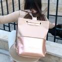 Tekla bag rosegold ezüst szerelékkel, Tekla hátizsák-backpack Műbőr és marhabőr fe...