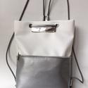 Tamy fehér-ezüst hátizsák, Táska, Válltáska, oldaltáska, Hátizsák, Tamy fehér-ezüst hátizsák-backpack. A fehér elegancia képviselője:) Ez a táska hátizsákként és átvet..., Meska