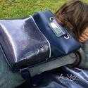 Tekla hátizsák backpack sötétkék-lakkbőr zsebbel, Tekla hátizsák-backpack Műbőr és marhabőr fe...