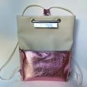 Tekla hátizsákok kötéllel, Tekla hátizsák: 1. törtfehér-rózsaszín bőrz...