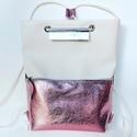 TEKLA bag törtfehér fényesrózsaszín bőr zsebes hátizsák, Táska, Hátizsák, Válltáska, oldaltáska, TEKLA hátizsák. Ez a táska hátizsákként és átvetve is használható. Műbőr és marhabőr felhasználásáva..., Meska