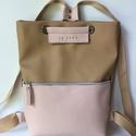 Tekla bag csau-rózsaszín bőr zsebbel, Táska, Hátizsák, Tekla hátizsák-backpack Műbőr és marhabőr felhasználásával készült. mérete:  szélesség: 34 cm, alja ..., Meska