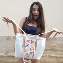 Balloon bag, textil táska-hátizsák natúr, Táska, Válltáska, oldaltáska, Tarisznya, Szatyor, Ballon bag Hőlégballonok ihlette, kézzel festett laza nyárias táska. Pántjai segítségével válltáskak..., Meska