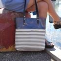 Mobile bag  2 részes táska oldaltáska sötétkéklakk-csíkosalj, Táska, Válltáska, oldaltáska, Hátizsák, Szatyor, Mobile bag elnevezés abból adódik, hogy ez a táska mobilokból áll. 1. mobil - felsőrész: tiszta bőr,..., Meska