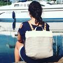 Mobile bag 2 részes táska hátizsákos résszel beige-csíkos alj, Táska, Válltáska, oldaltáska, Hátizsák, Szatyor, AKCIÓ! júliusban és augusztusban bevezető áron kapható 23 ezer helyett 19 ezer forintért. Mobile bag..., Meska