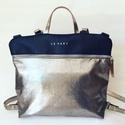 Mobile bag 2 részes táska hátizsákos résszel sötétkék-ezüstös  alj, Táska, Válltáska, oldaltáska, Hátizsák, Szatyor,  Mobile bag elnevezés abból adódik, hogy ez a táska mobilokból áll. 1. mobil - felsőrész: tiszta bőr..., Meska