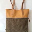 Mobile bag  2 részes táska oldaltáska  okkersárga-halszálka alj, Táska, Válltáska, oldaltáska, Hátizsák, Szatyor,   Mobile bag elnevezés abból adódik, hogy ez a táska mobilokból áll. 1. mobil - felsőrész: tiszta bő..., Meska