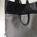 MOBILE BAG limitált fekete felsőrész-szürke ezüst alsórész, Táska, Válltáska, oldaltáska, Hátizsák, Szatyor, Mobile bag limitált kiadású darabjainak egyike.  Mobile bag elnevezés abból adódik, hogy ez a táska ..., Meska