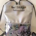 Tekla bag hologrammos bőr zsebbel, Táska, Hátizsák, Tekla hátizsák-backpack Műbőr és marhabőr felhasználásával készült. mérete:  szélesség: 34 cm, alja ..., Meska