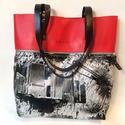 MOBILE BAG piros bőr felső-mintás alsórészzel, Táska, Válltáska, oldaltáska, Hátizsák, Szatyor, Mobile bag limitált kiadású darabjainak egyike.  Mobile bag elnevezés abból adódik, hogy ez a táska ..., Meska