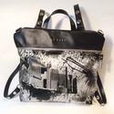 Mobile bag 2 részes táska hátizsákos résszel fekete felső-mintás alsó, Táska, Válltáska, oldaltáska, Hátizsák, Szatyor, Mobile bag elnevezés abból adódik, hogy ez a táska mobilokból áll. 1. mobil - felsőrész: tiszta bőr,..., Meska